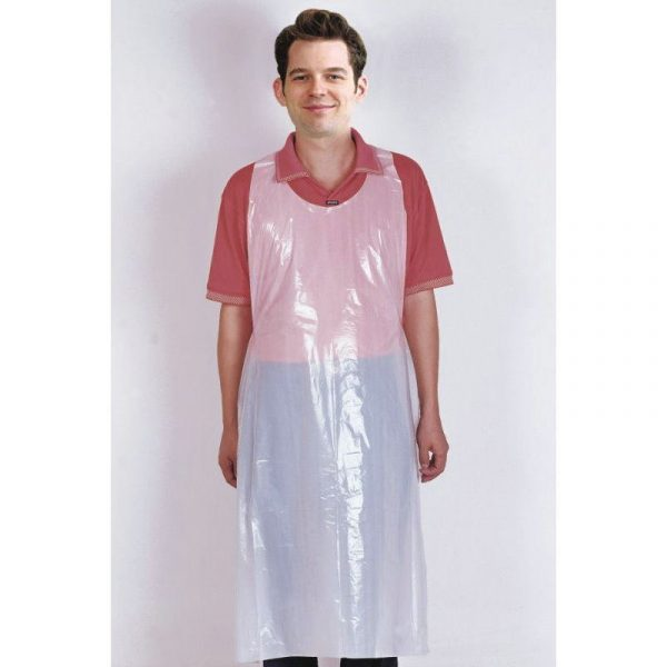 Man in disposable plastic PPE Apron
