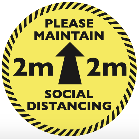 Please maintain 2m Social Distancing Circular Floor Sticker